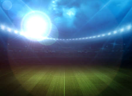 floodlit: Stadium light Stock Photo