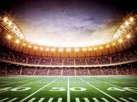 grass field: light of american stadium Stock Photo