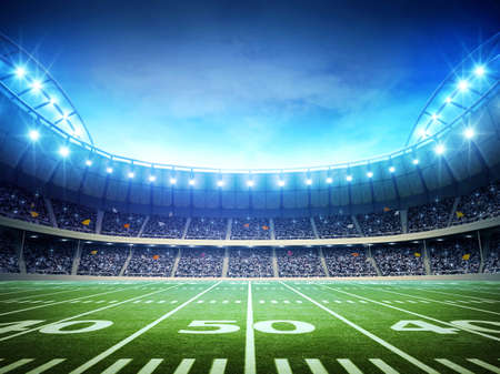 rugby football: light of american stadium Stock Photo