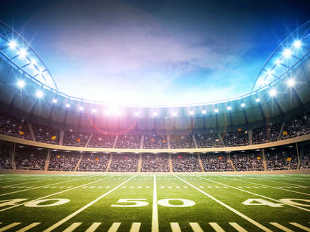 goalpost: light of american stadium Stock Photo