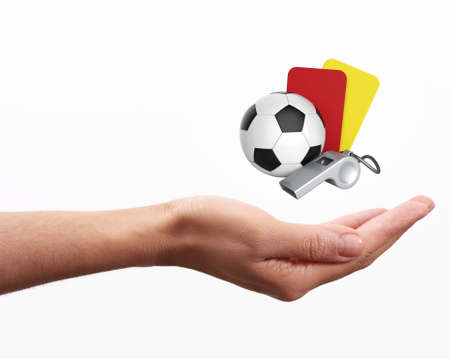 judge players: soccer concept on hand