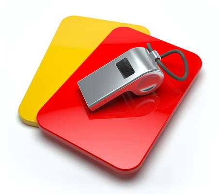 arbiter: Red and yellow card with whistle
