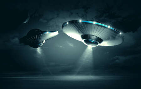alien: UFO in dark night