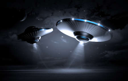 invasion: UFO in dark night