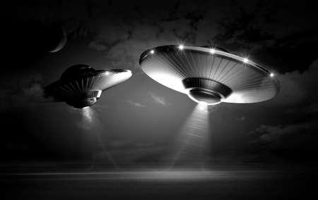 UFO in dark night photo