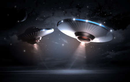 spaceship: UFO in the dark night
