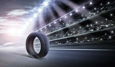pneumatic tyres: Tire and track arena Stock Photo