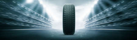 vehicle tire and track arena Stock Photo