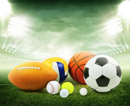 Sports balls in stadium