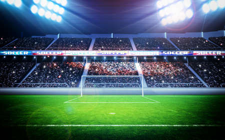 football grass: stadium scenery at night