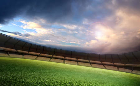 soccer fans: Stadium and sky Stock Photo