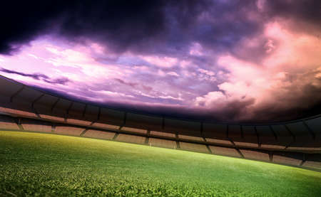 soccer ball on grass: Stadium and sky Stock Photo