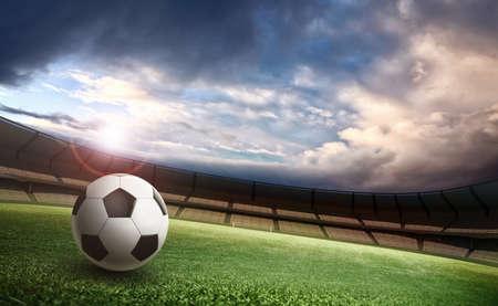 Stadium and soccer ball Foto de archivo