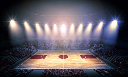 crowded: basketball arena