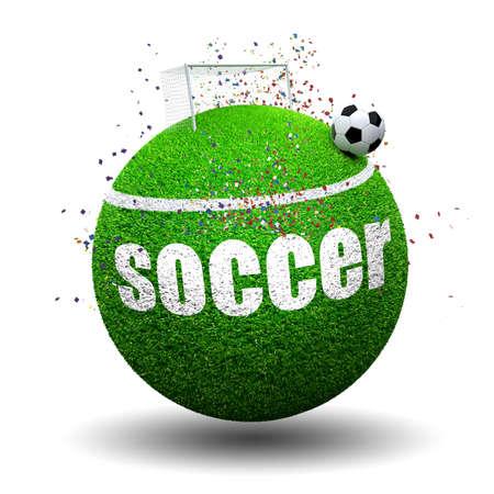 sports balls: Soccer ball on grass sphere Stock Photo