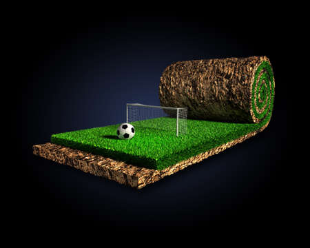 sod: Soccer surreal concept Stock Photo