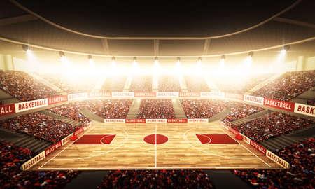 terrain de basket: Une arène de basket-ball imaginaire Banque d'images