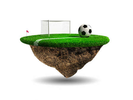 kick ball: Soccer, surreal stadium Stock Photo