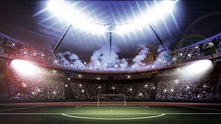 soccer sport: An imaginary stadium Stock Photo