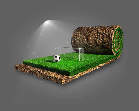 lawn grass: Soccer surreal concept Stock Photo