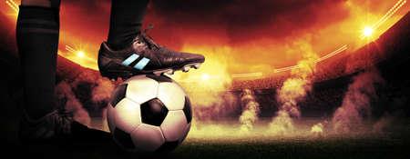 cancha de futbol: Protesta Fútbol Foto de archivo