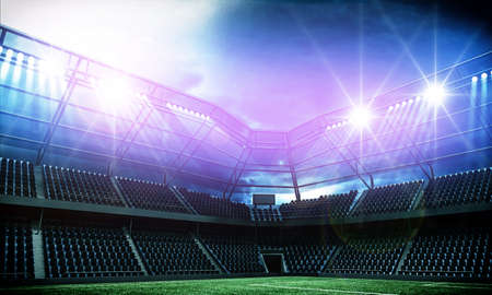 Stadium, an imaginary stadium is modeled and rendered.