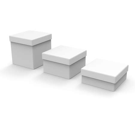 christmas present: Three different size boxes white, square shape