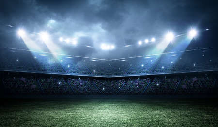 at leisure: The imaginary stadium is modeled and rendered.