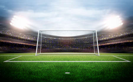 grass field: Goal Post Stock Photo
