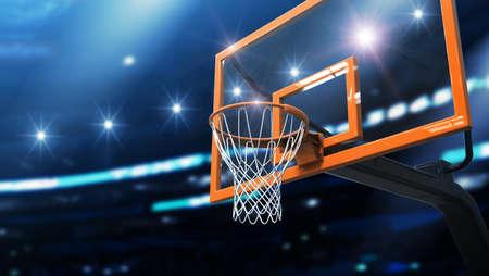 the night light: basketball net Stock Photo