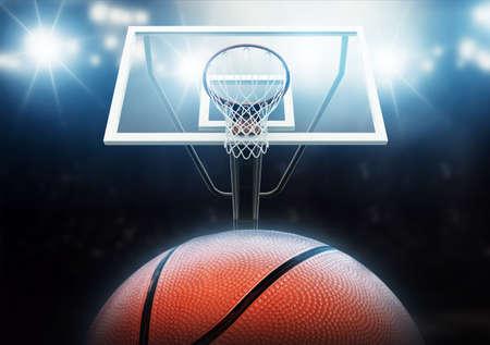 バスケット ボール ネットとボール 写真素材
