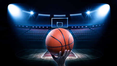 Basketball arena with player