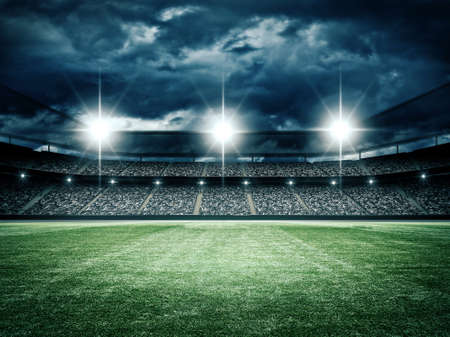 sports: The imaginary soccer stadium is modeled and rendered. Stock Photo