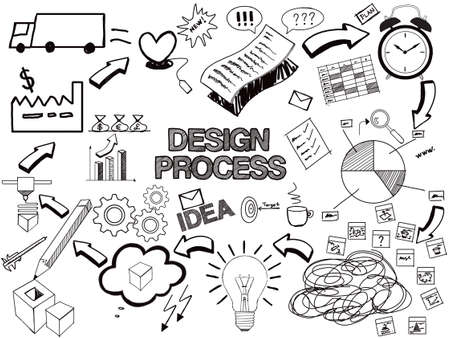 """Design proces"" business doodle Stockfoto"