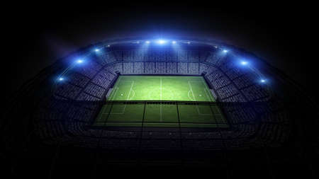 soccer field: Stadium, the stadium is modeled and rendered imaginary. Stock Photo