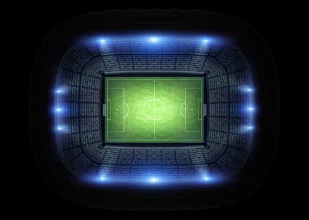 Stadium, the stadium is modeled and rendered imaginary. Stock Photo