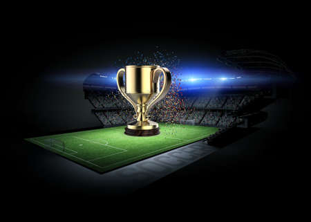 fotball: Stadium and soccer cup, the stadium and soccer are modeled and rendered imaginary cup.