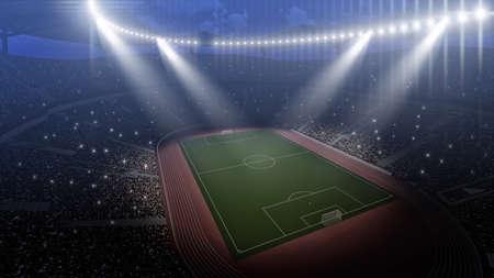 rendering: Stadium, the stadium is modeled and rendered imaginary. Stock Photo