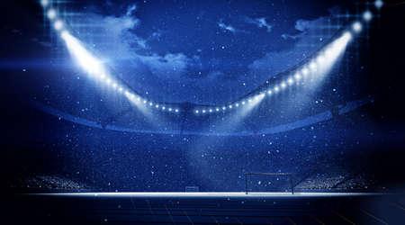 Stadium snowfall, stadium is modeled and rendered imaginary. Stock Photo