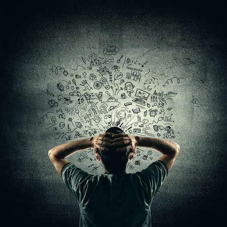 back problem: Hand drawn doodle creative thinking Stock Photo