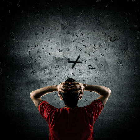 flying man: thinking man with flying letters, creative thinking concept