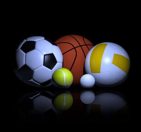 balones deportivos: balones de deporte representación 3d