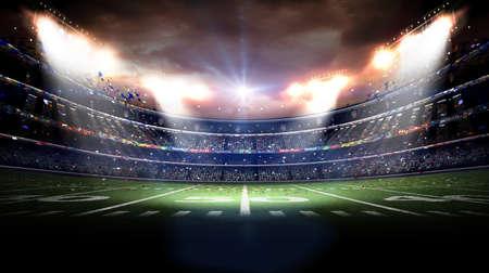 Americana estadio en la noche, el estadio imaginaria está modelado y rendido Foto de archivo