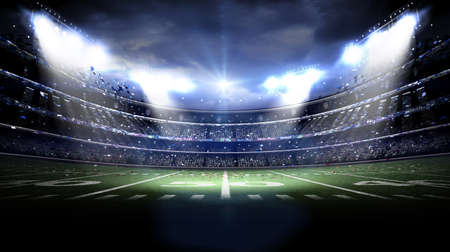 field goal: American stadium at night, the imaginary stadium is modeled and rendered. Stock Photo