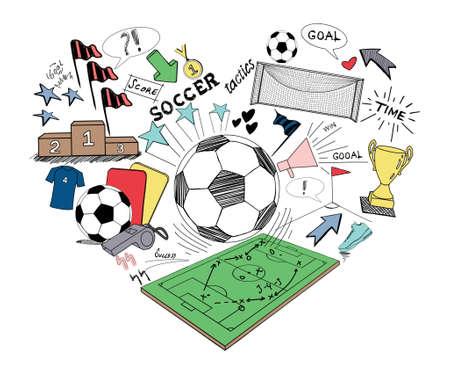 football stadium: Soccer doodle, hand drawn sketch soccer Stock Photo
