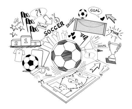 ballon foot: Football griffonnage, tiré par la main soccer croquis Banque d'images