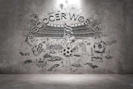 pelota de futbol: doodle de fútbol en la pared
