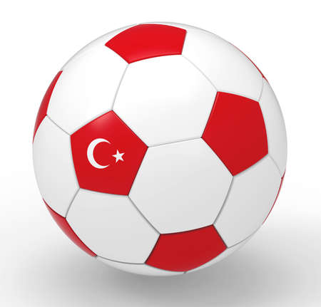 turkish flag: Soccer ball with Turkish flag symbols