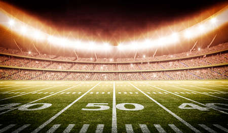 3d american football stadium, the stadium is modeled and rendered imaginary. Stock Photo