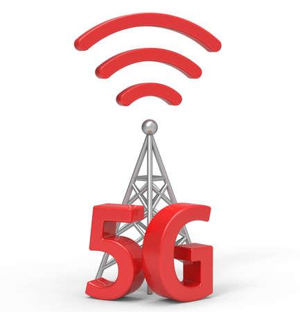 3D-5G mit Antenne, drahtlose Kommunikationstechnologie Standard-Bild - 63140813